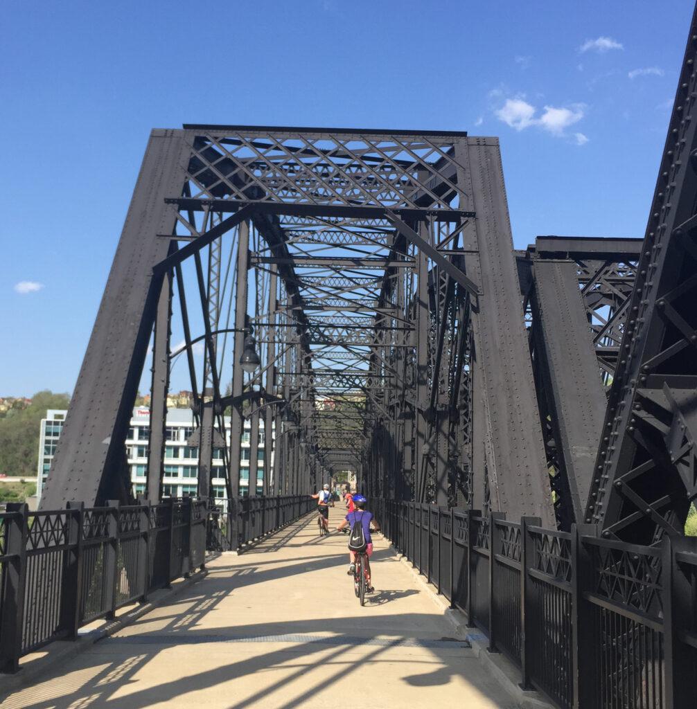 Railroad bridge is now a bridge for bikers.