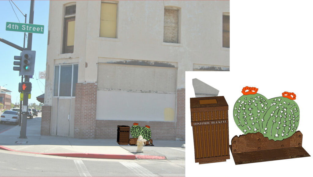 Steel Barrel Cactus Trash Can Art to be located at the SE corner of 4th Street and Monroe