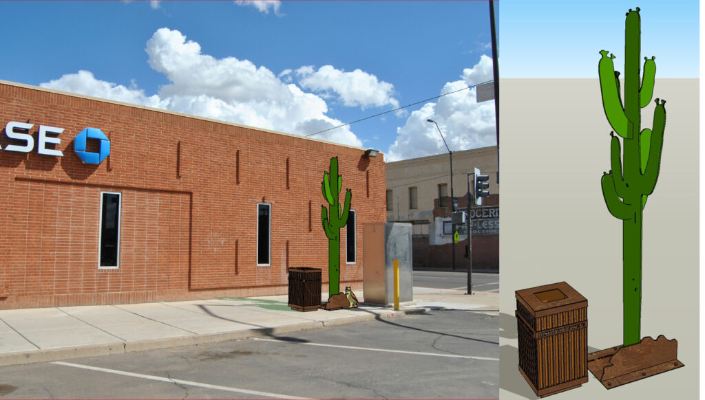 Steel Saguaro Trash Can Artto be located at the NE corner of 4th Street and Monroe