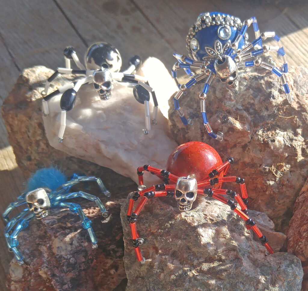 Wire and Gem Stone Spiders